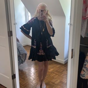 Free People Boho Embroidered Baby Doll Dress